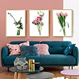 Póster floral, pintura en lienzo verde, plantas rosas, pintura artística, flores, póster, cuadro artístico de pared nórdico, decoración del hogar, 50x70cmx3 sin marco