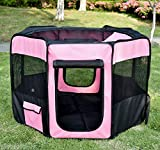 PawHut 46-inch Pet Playpen Soft Exercise Puppy Dog Pen Portable Crate New Pink + Carry Bag