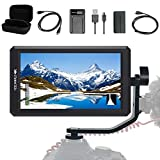 FEELWORLD F6+Battery+ Battery Charger + Micro&Mini HDMI Cords 5.7Inch FHD IPS On Camera 4K HDMI Monitor with Swivel Arm and 8V DC Power Output