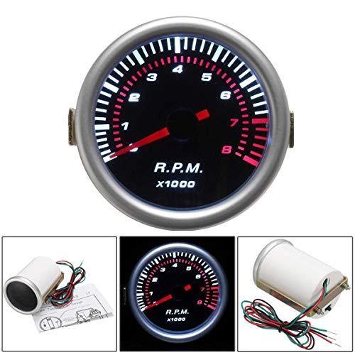 No-branded Odometer Spur Tachos Universal Car 2 '' 52mm Digital White LED Tachometer-Lehre 0-8000 RPM 12V ZHQHYQHHX