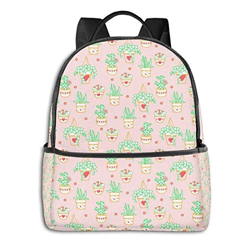 Lawenp Cactus Plant Cartoon Pink Cute Multi-Functional College Bags Students High School Girls Casual Daypack Kids Travel Backpack School Laptop Bookbags Teens Boy Outdoor Accessories