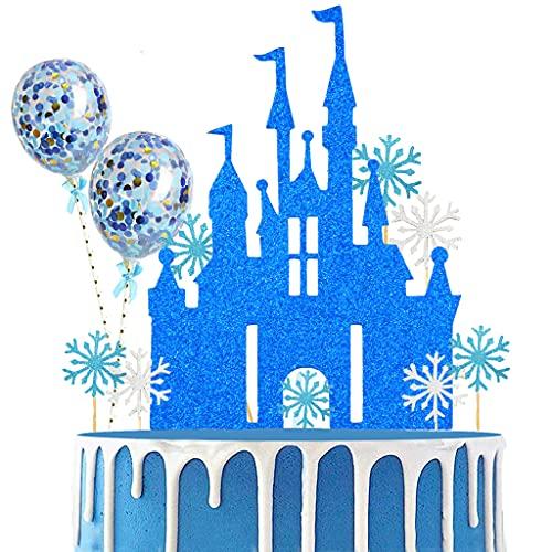 Conruich 23 unidades de castillo de copo de nieve, decoración para tartas, globos de confeti, decoración para tartas de cumpleaños, para niños y niñas (azul)