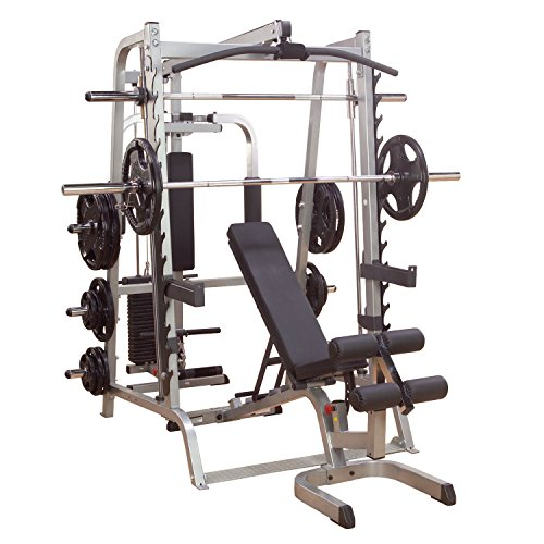 Body-Solid GS348QP4 Series 7 Smith Machine Gym Package, Power Rack for Strength and Weight Training