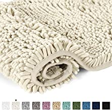Cream Bath Mat Soft Shaggy Bathroom Rugs Rugs Luxury Microfiber Washable Bath Rug for Floor Bathroom Bedroom Living Room, 20 x 32 inches