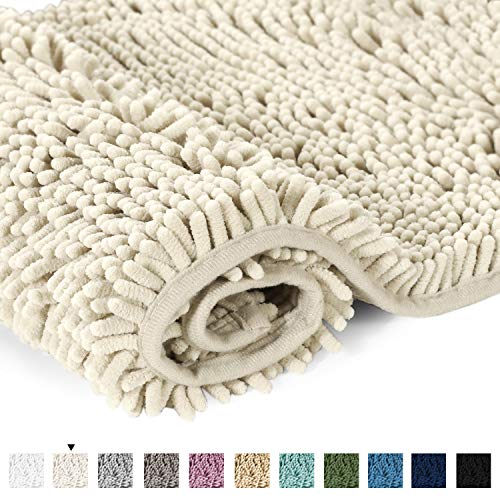 H.VERSAILTEX Cream Bath Mat Soft Shaggy Bathroom Rugs Rugs Luxury Microfiber Washable Bath Rug for Floor Bathroom Bedroom Living Room, 20 x 32 inches