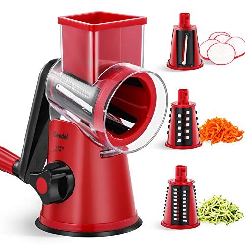 Rallador de Tambor, Rallador de Verduras de Corte Rápido, Rallador de Cocina 3 en 1, Cortadora de Verduras para Pepinos, Zanahorias, Calabacines, etc.