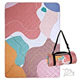Exclusivo Mezcla Waterproof Picnic Blankets 3-Layer 60x80 Inches Large Sandproof Beach Blanket Foldable Outdoor Blanket for Camping on Grass Picnic Mat with 4 Windproof Stakes, Abstract Pink