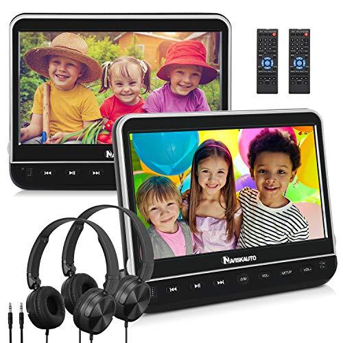 "NAVISKAUTO 2 10,1\"" DVD Player für Auto Tragbarer DVD Player Dual 1080P HD Bildschirm Kopfstütze Monitor Memory HDMI Eingang SD USB mit Kopfhörer 12V"