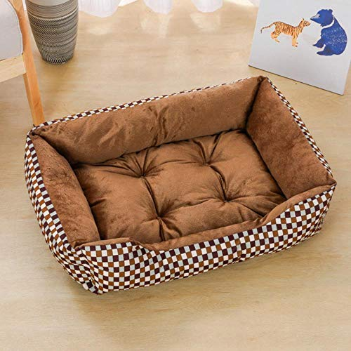 Grea Pet Bed Warm Linen For Small Medium Large Dog Soft Pet Bed Washable House For Cat Puppy Cotton,Trellis,XL 80x60x15cm