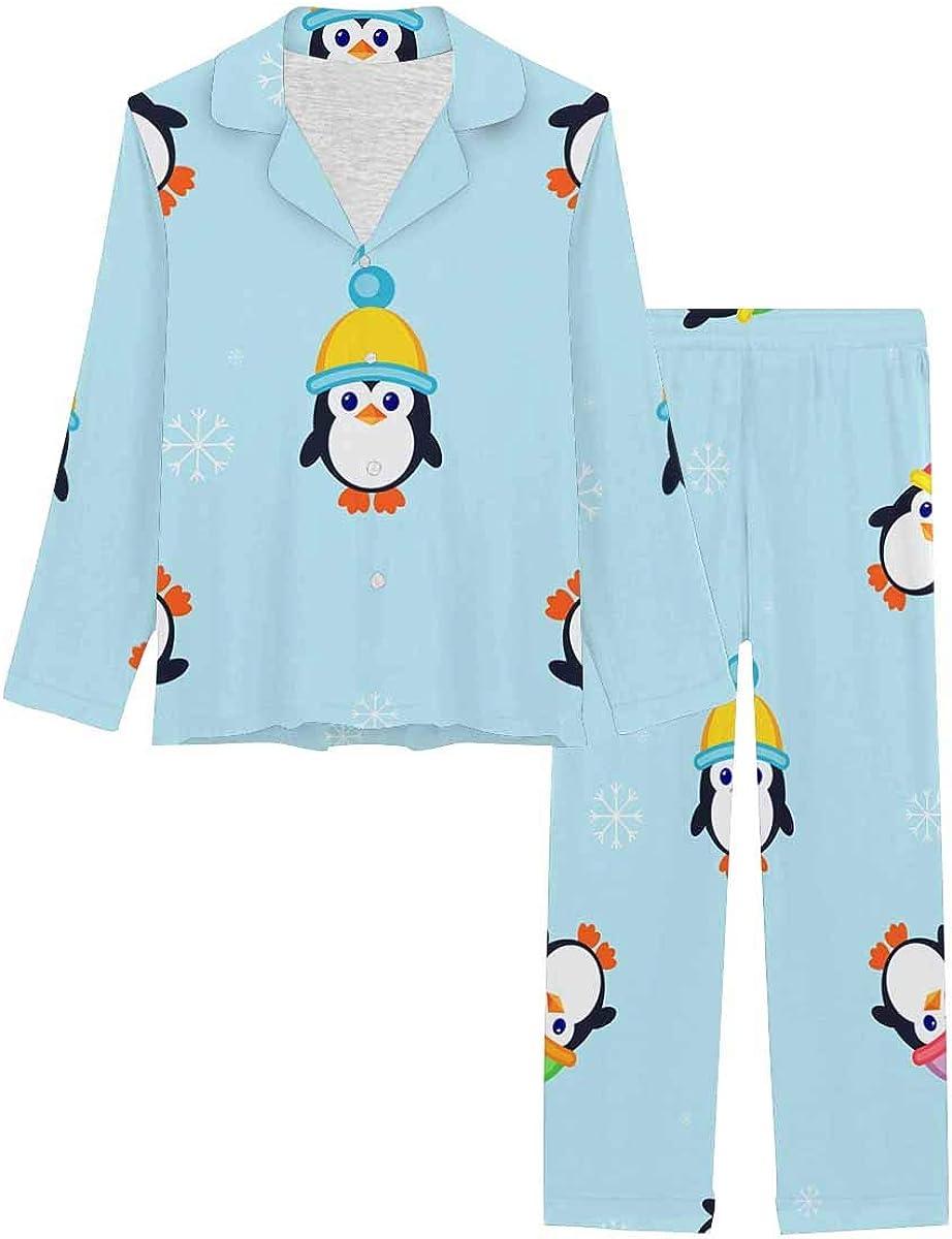 InterestPrint Notch Collar Loungewear Sleepwear Soft Nightwear for Women Cute Penguins