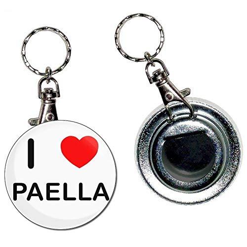 I Love Paella - 55mm Button Badge Flaschenöffner Schlüsselanhänger