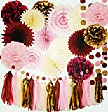 Burgundy Pink Gold Birthday Decorations for Women/Fall Bridal Shower Decorations Qian's Party Maroon Party Decorations Autumn Burgundy Wedding/Bachelorette Party Decorations