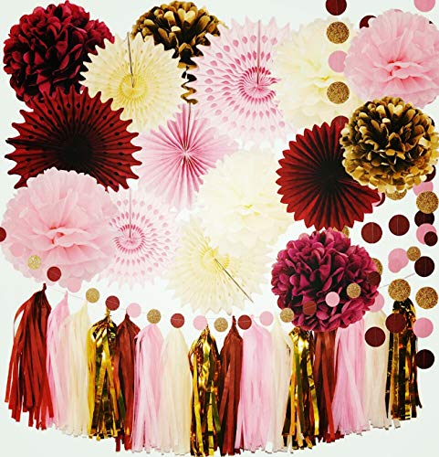 Burgundy Pink Gold Birthday Decorations for Women/Fall Bridal Shower Decorations Qians Party Maroon Party Decorations Autumn Burgundy Wedding/Bachelorette Party Decorations