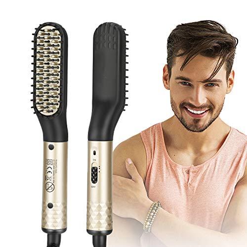 Plancha de pelo para hombres, alisador de barba, cepillo para barba y cabello, 2 temperaturas ajustables de 180 ℃ a 200 ℃