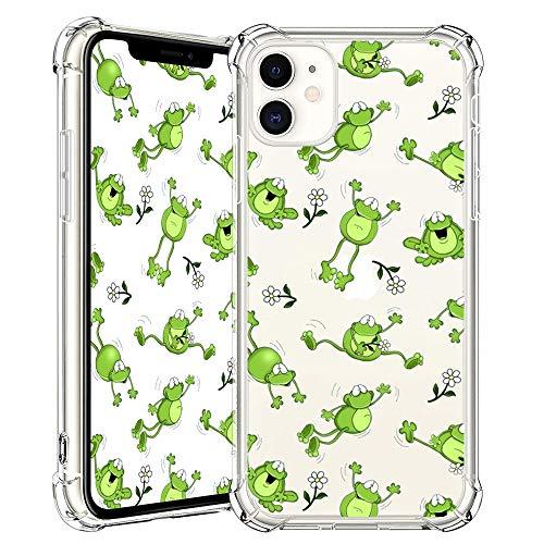 BBSY iPhone 11 Hülle, Frosch Muster klares Design Transparente Kunststoff Weiche Handyhülle mit TPU-Stoßfänger-Schutzhülle für iPhone 11 6.1