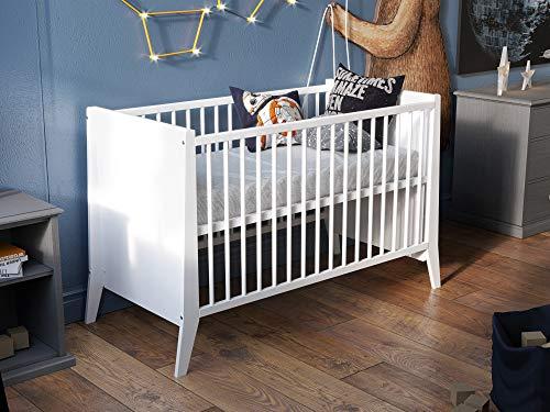 Lettino in Legno per bambini 120x60 cm Bianco + Barriera di sicurezza in legno…