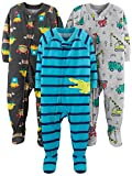 Simple Joys by Carter's Boys' Toddler 3-Pack Loose Fit Flame Resistant Polyester Jersey Footed Pajamas, Food/Trucks/Alligator, 3T