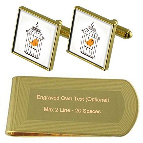 Select Gifts Bird Cage canarias Tono Oro Gemelos Money Clip Grabado Set de Regalo