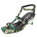 Damen High Heel Schlangenhautmuster Peep Toe Riemchensandale Sommer Outdoor Sandals(Grün/Green,38)