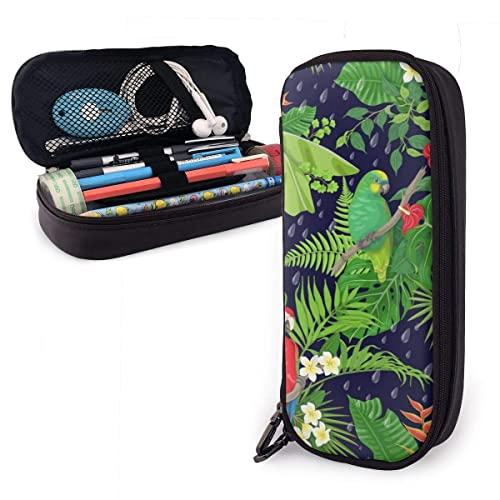 Estuche para lápices de cuero PU hecho con hojas de pájaros tropicales Amazon Pen Pouch Bag Monedero Estuche de maquillaje cosmético