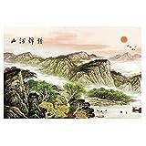 LRZS Puzzles 1000 Piezas de Pintura Tradicional China de Rompecabezas de Madera de 500 Piezas Montaña río Imagen de Tangram Regalo Adulto de descompresión (Color : B, Size : 500 pcs)