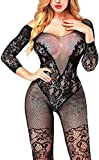 Lnxia Body de lencería de Malla de Manga Larga Transparente para Mujer Sexy Teddy Mini Babydoll Lace Pijama Set Black
