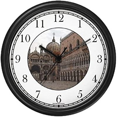 Amazon Com St Marco Cathedral Venice Italy Famous Landmarks Wall Clock By Watchbuddy Timepieces Black Frame Kitchen Dining