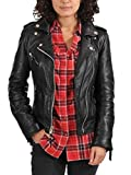 World of Leather Women's Biker Moto Leather Jacket (S) Black
