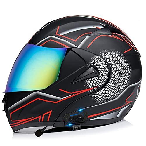 Casco Moto Integral Cascos Modular Flip Up Motocicleta con HD Antivaho Doble Visera Cascos De Motocicleta, ECE/DOT Homologado Transpirable Y Cómoda,para Mujeres Y Hombres(Size:L(59-60CM),Color:D)