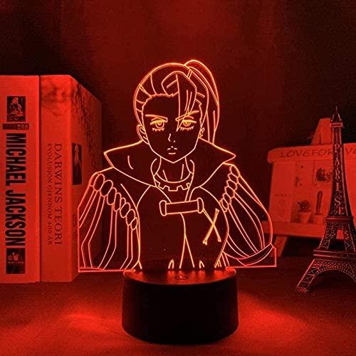 JYDNBGLS Lâmpada de LED 3D Anime Light The Seven Deadly Sins Jericho Illusion, luz noturna para decoração de quarto, presente de aniversário para crianças e adultos, iluminação de 16 cores