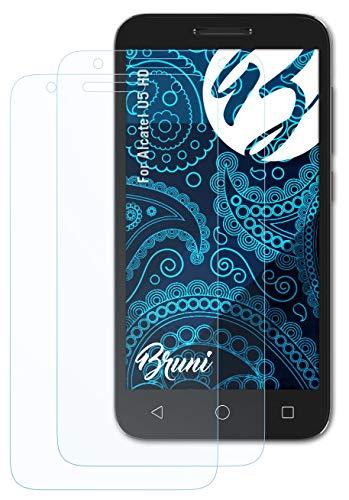 Bruni Schutzfolie kompatibel mit Alcatel U5 HD Folie, glasklare Bildschirmschutzfolie (2X)