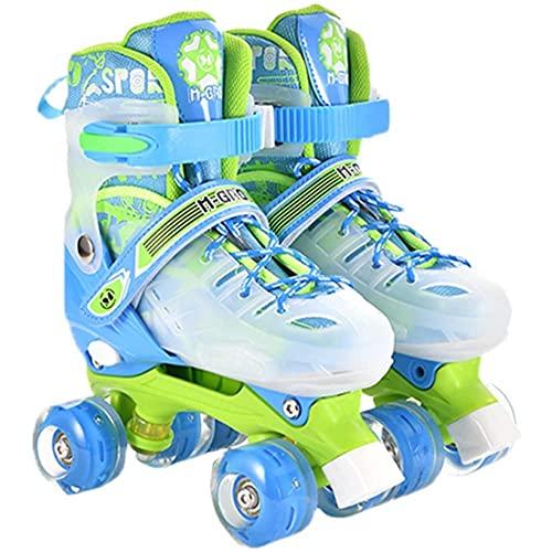 Rollschuhe für Kinder und Erwachsene Einstellbar InlineskatesVerstellbare Atmungsaktive Skates Inlineskates Mit PU Glühräder (Blau, M (33~37)-Code)