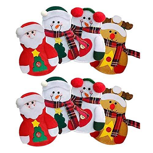 Cikuso 8 pz Porta Posate Pupazzo di Neve/Babbo Natale/Alce Posate Porta Posate Tasca coltelli da tavola stoviglie Decorazioni Natalizie