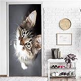 DFKJ Papel Pintado Autoadhesivo de Flamenco, Pegatina de Puerta de Animal de Dibujos Animados Bonitos, decoración del hogar, póster Impermeable, Mural, calcomanía A25 95x215cm