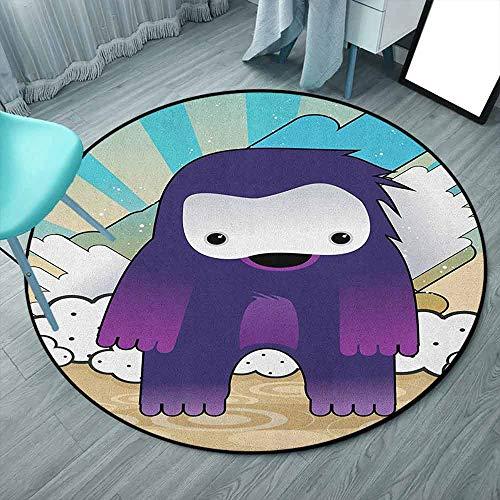 Anime - Alfombras redondas personalizadas, redondas, multicolor, manga japonesa, monstruo fantástico sobre un fondo abstracto de estilo retro, para dormitorio y sala de estar (redondas, 130 x 130 cm)