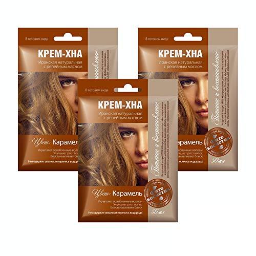 3xSET Henna Creme mit Klettenöl iranische Haarfarbe Haarkur Haare natürlich Naturkosmetik Tönungscreme gebrauchsfertig (Karamel)