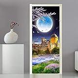 QHOXAI Etiqueta Engomada De La Puerta 3D Luna De Construcción De Castillo Papel Pintado Fotográfico Sala De Estar Dormitorio De Los Niños Decoración Para El Hogar Calcomanía Art Poster Murales 85X205C