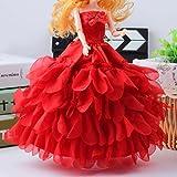 Fuwahahah Robe de mariage pour poupée Barbie Red