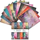 欧米風 アートペーパー カラー 紙 単面印刷 絵葉書/カード DIY手作り用 6×6inch 24枚/冊 (ブリリアント)