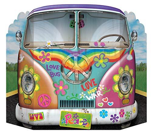 Beistle 57950 Hippie Bus Stehende Dekoration, Papier, mehrfarbig