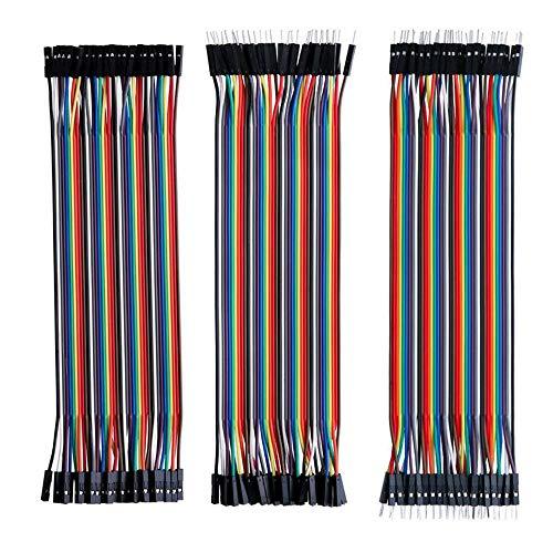 Xinlie Jumper Wire Cable Dupont Wire Bridge Raspberry Wires Cavo a Nastro Kit Breadboard Ponticello 40 x 30 cm Femmina-Maschio Maschio-Femmina Maschio-Maschio per Arduino Raspberry Pi (Set di 3)