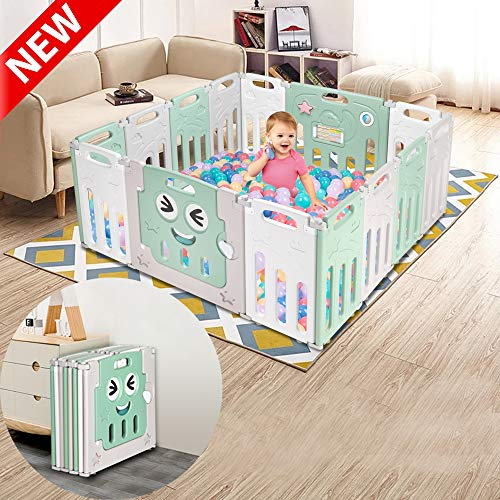 DANGRUUT Best Baby Playpen, 14-Panel Foldable Kids Safety Activity Center, Indoor Outdoor Portable Playards Baby Fence, Extendable Safe Play Yard Play Pen, Adjustable Shape, Easy to Assemble
