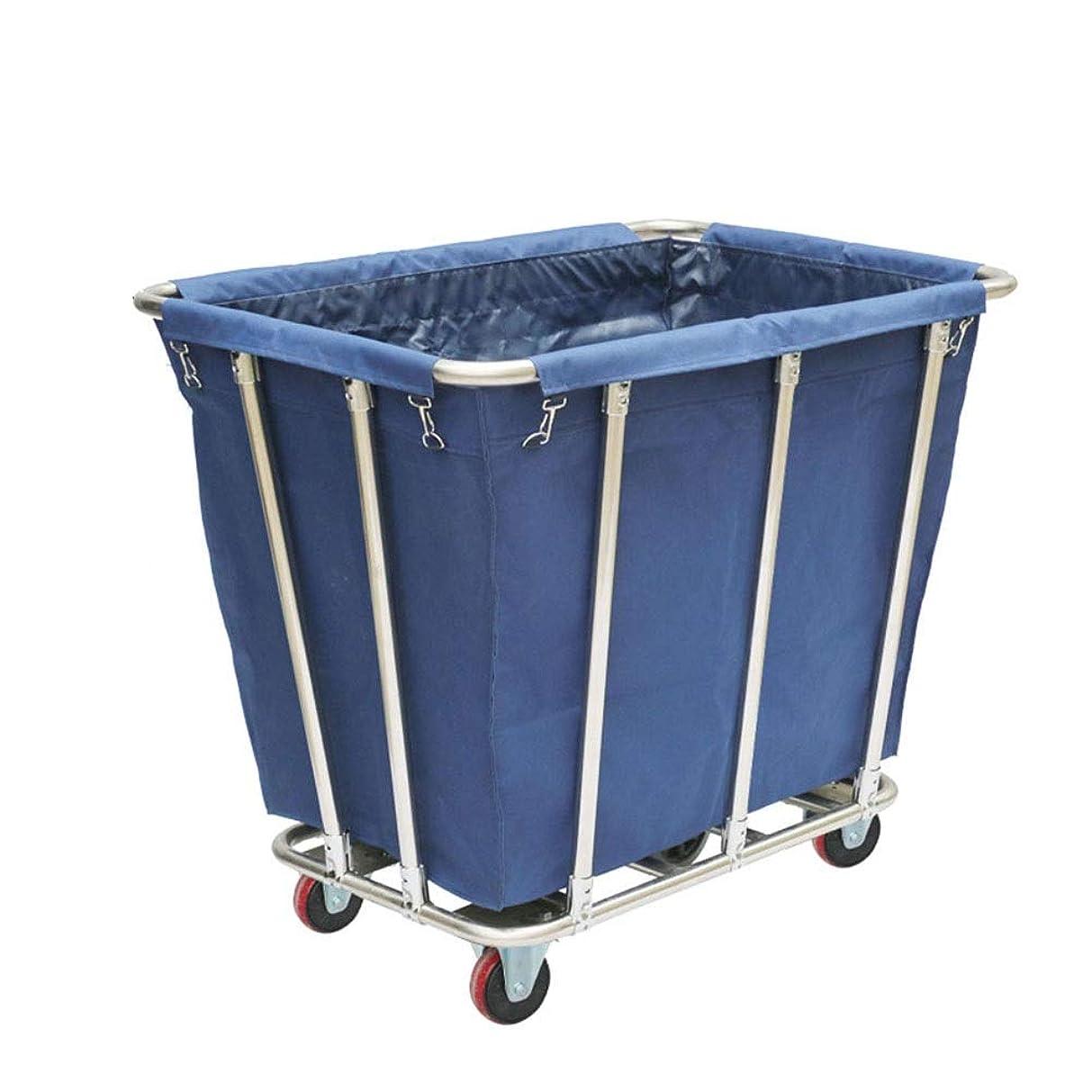 韓国語浴室機動車輪のホテルの頑丈な圧延の洗濯の選別機のカート、取り外し可能な袋が付いているホテルのサービングのトロリー、青/茶色 (Color : Blue)