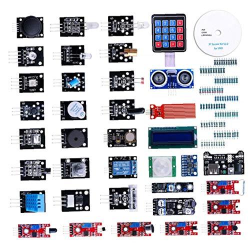 Canjerusof Modul Sensor Kit Projekt Starter Kit Elektronische Bauelemente Set Basic Starter Kit Kompatibel mit UNO R3 37pcs