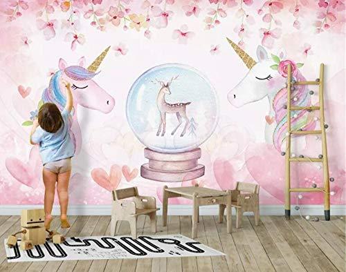 Custom 3D Wallpaper Watercolor Unicorn Art Mural Life Bedroom Hallway Children Room Background Photo Wallpaper behang,300 * 210cm