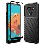 Sucnakp for LG K51 Case LG Reflect Case LG Q51 Case with Screen Protector Shock Absorption Anti Scratch Heavy Duty Durable Drop Protection Cell Phone Cover for LG K51(LT Black)