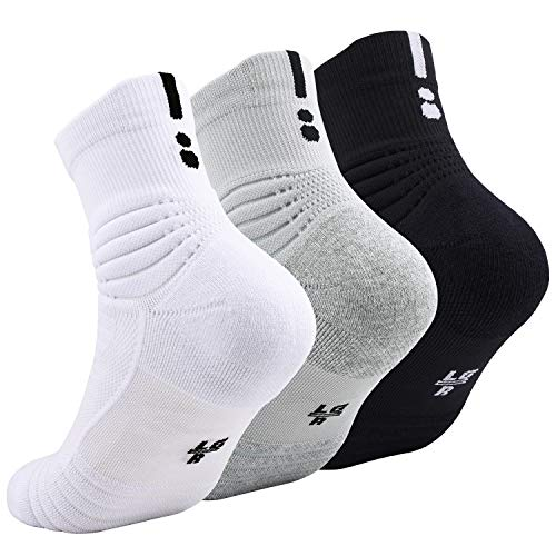Elite Basketball Socks, Cushioned Athletic Sports Crew Socks for Men Boy Women Girl (3 Pairs Black, White, Grey)