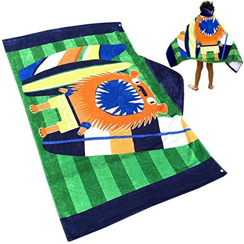 Uniuooi Kinder Kapuzen Handtuch Badetücher Strandtücher Bademantel Sporthandtücher für Jungen Mädchen Alter 1-7 Jahren 100% Baumwolle Bade Badetuch Poncho Löwe