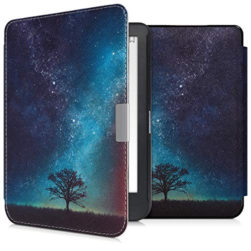 kwmobile Case for Kobo Clara HD - Book Style PU Leather Protective e-Reader Cover Folio Case - Blue/Grey/Black