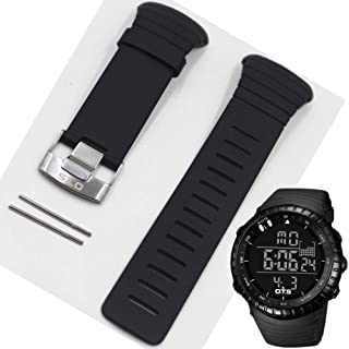for Professional Waterproof TPU Silicone Rubber Core Watch Spare Strap 210MM Length Band 24MM Width Repair Adjustable Replacement,Black,24mm